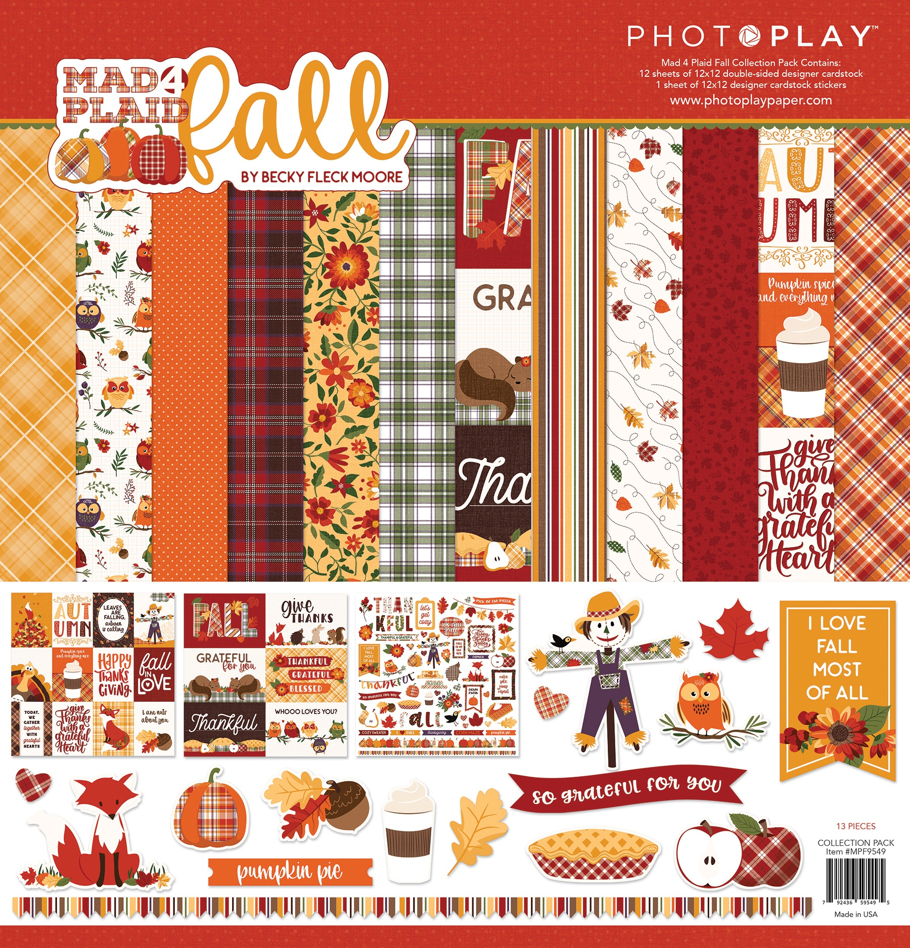 PhotoPlay Collection Pack 12X12-Mad 4 Plaid Fall