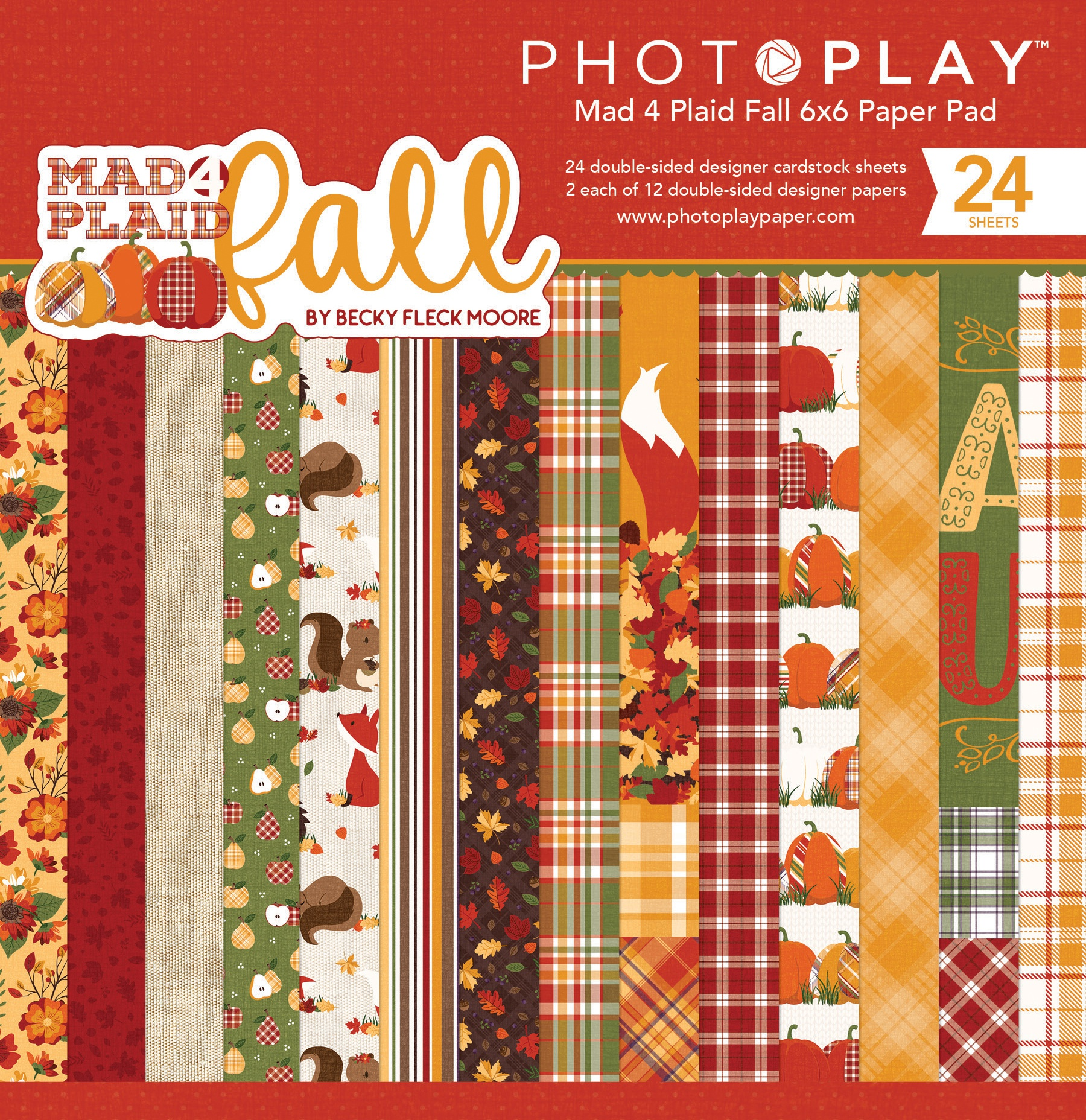 PhotoPlay Double-Sided Paper Pad 6X6 24/Pkg-Mad 4 Plaid Fall, 8 Designs/3 Each