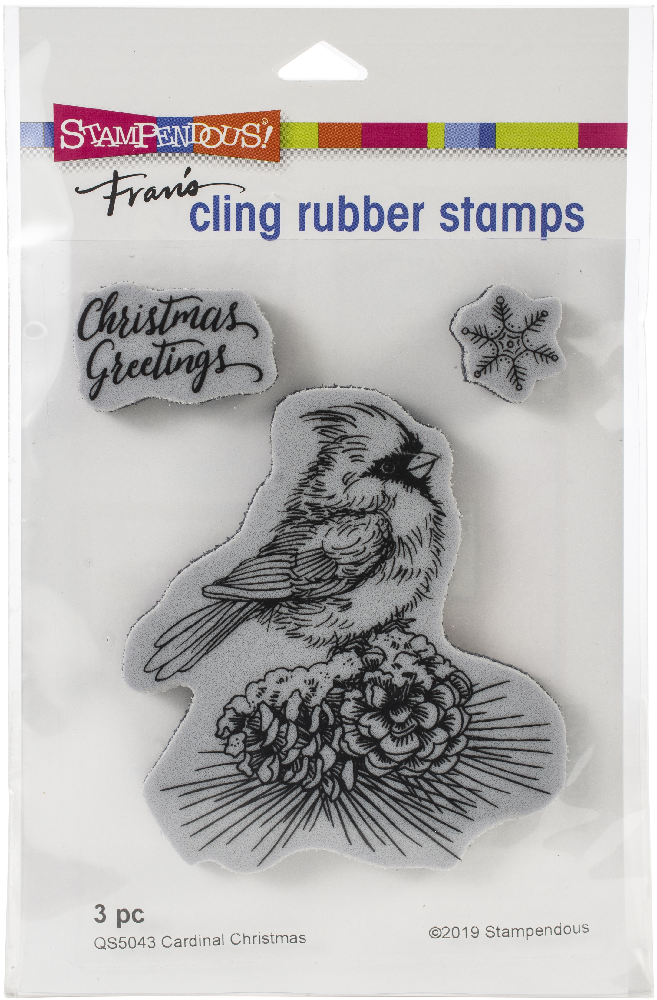 Stampendous Cling Stamp-Cardinal Christmas