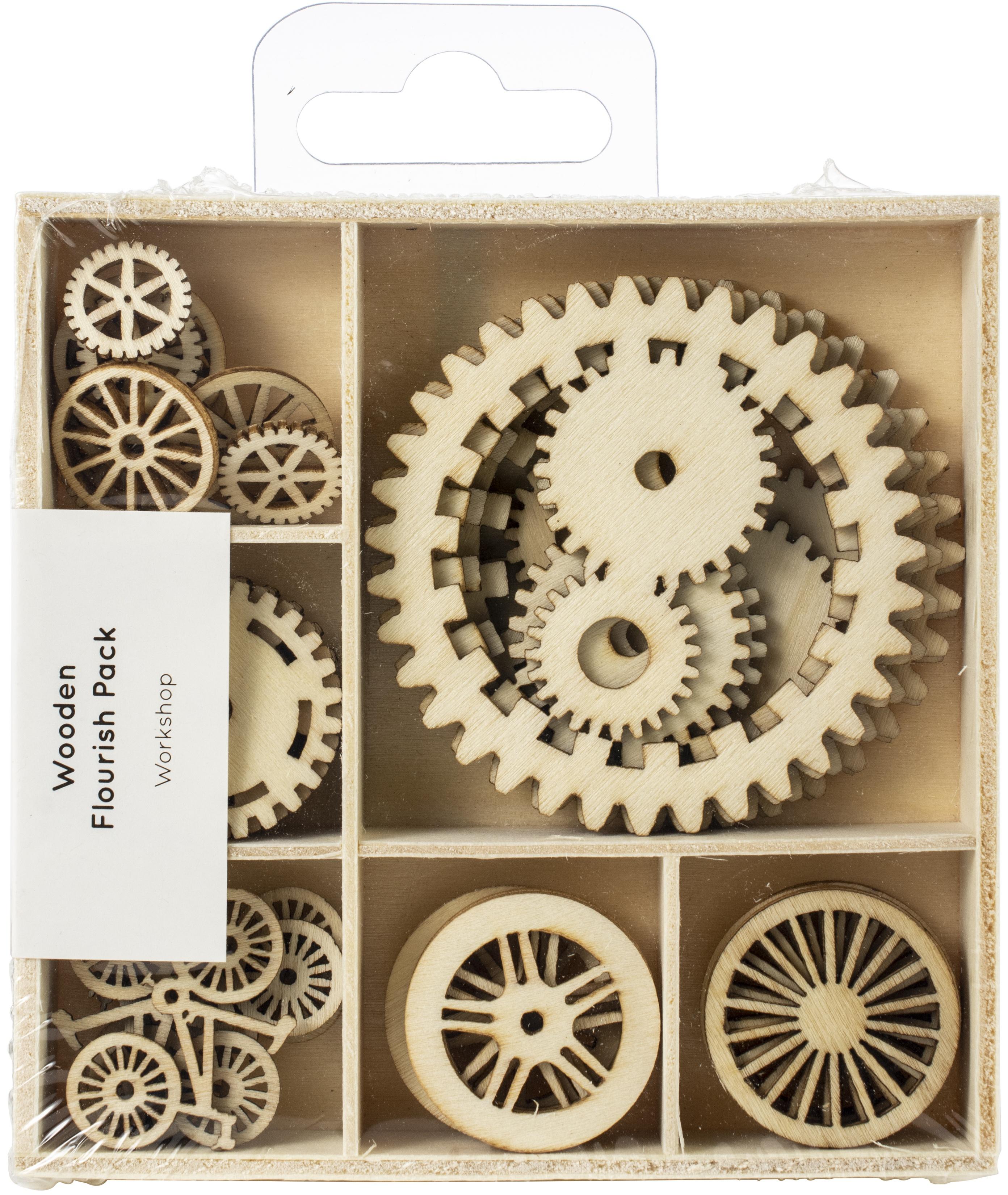 Kaisercraft Wood Mini Themed Embellishments-Workshop, 30/Pkg
