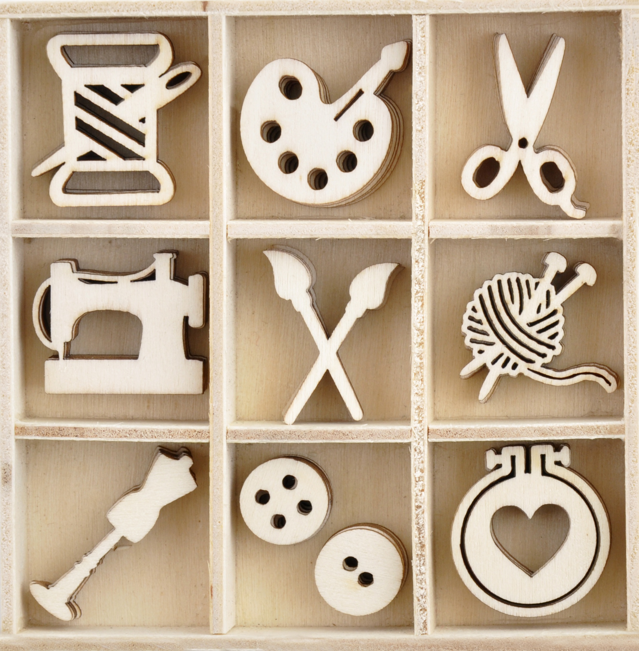 Crafternoon Wood Mini Themed Embellishments