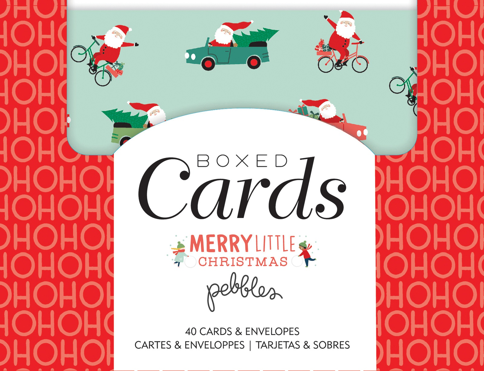 Pebbles A2 Cards W/Envelopes (4.375X5.75) 40/Box-Merry Little Christmas