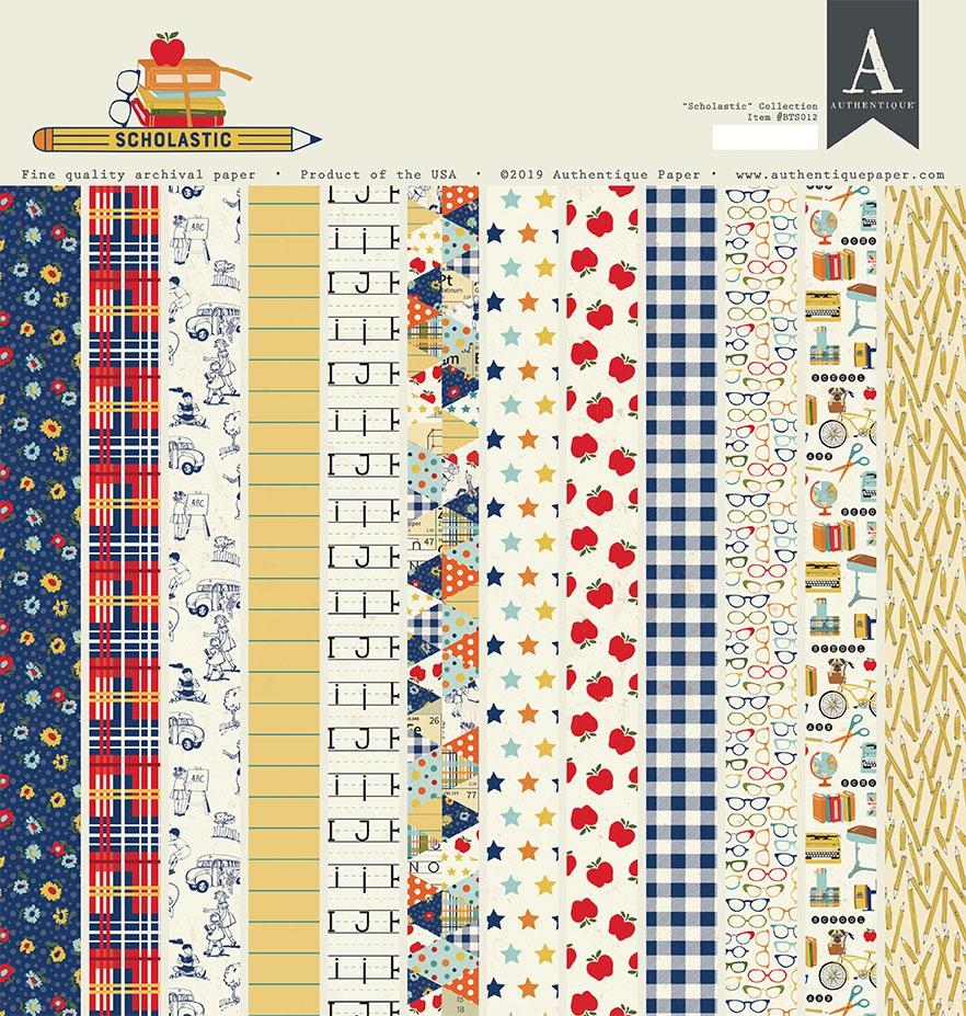 Authentique Double-Sided Cardstock Pad 12X12 18/Pkg-Scholastic, 8 Designs/2 Ea...