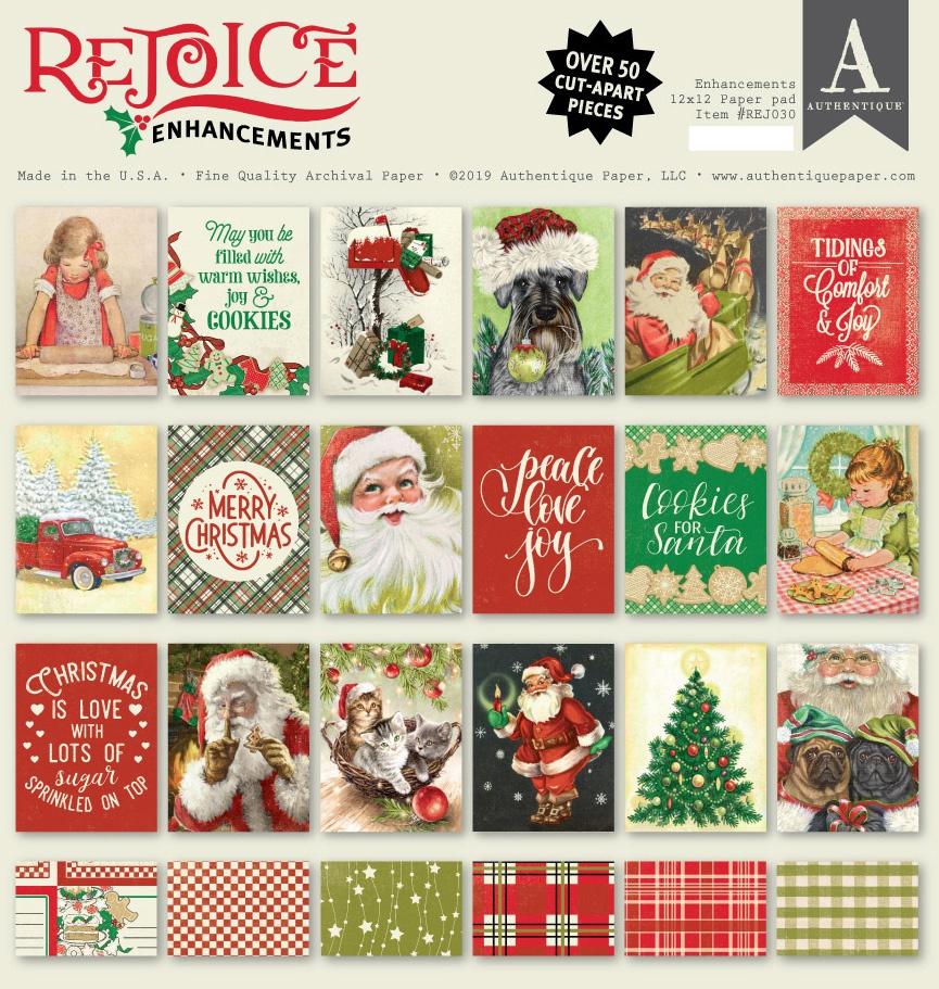 Authentique Double-Sided Cardstock Pad 12X12 18/Pkg-Rejoice Enhancements