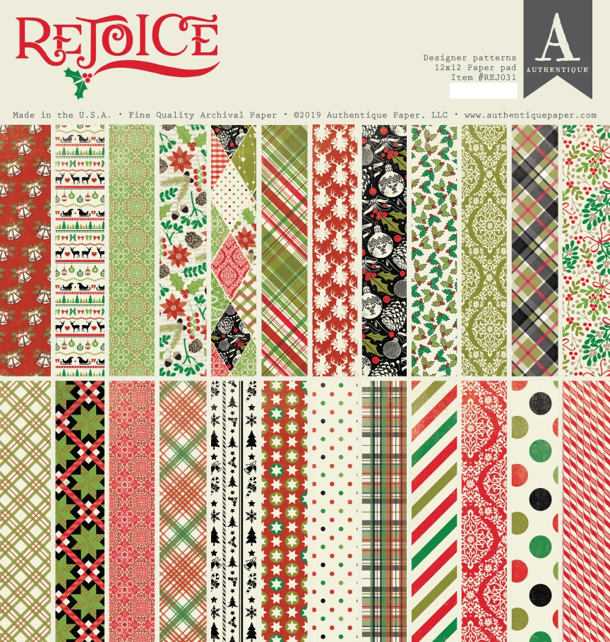 Authentique Double-Sided Cardstock Pad 12X12 24/Pkg-Rejoice, 12 Designs/2 Each