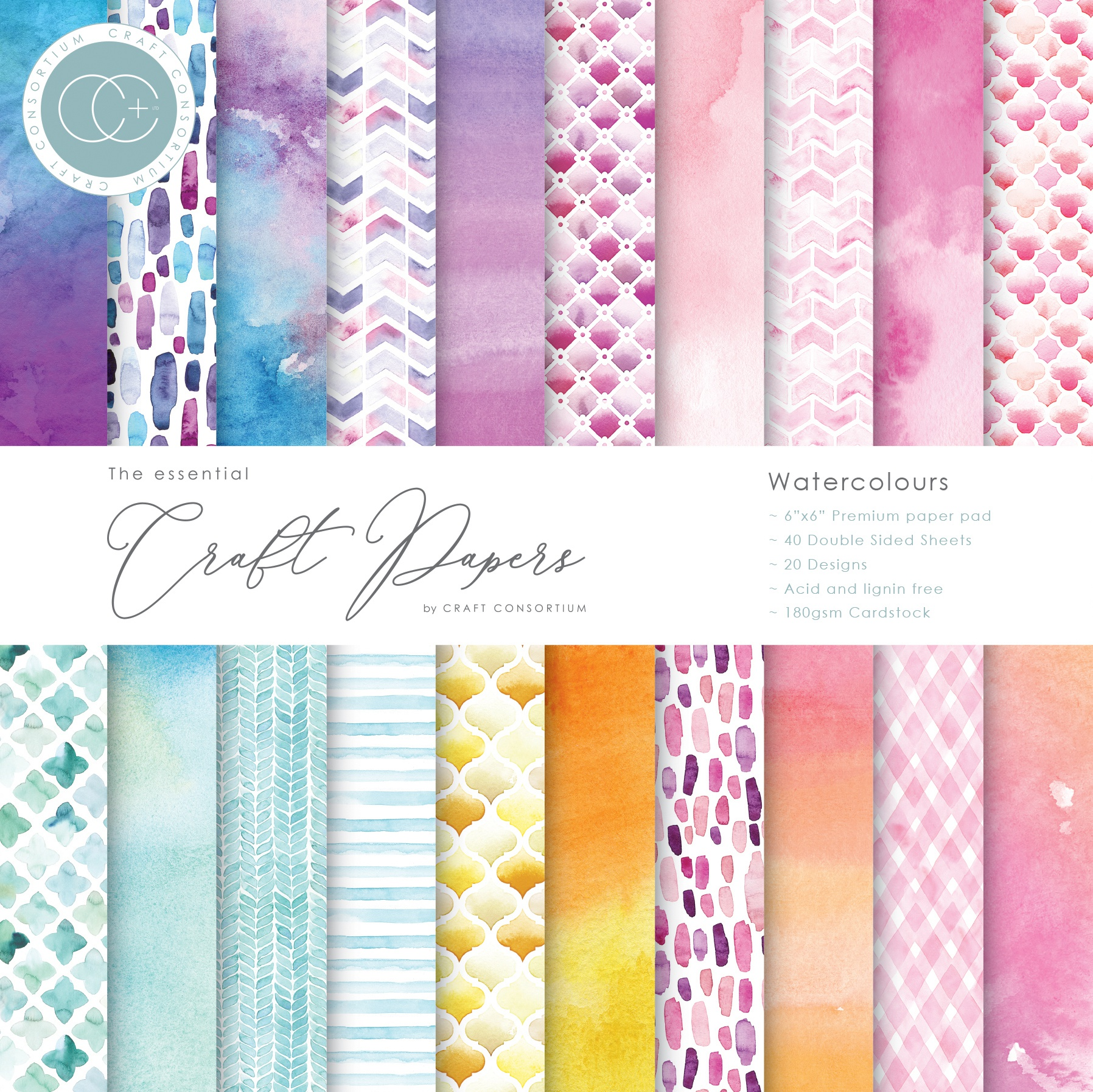 Craft Consortium Double-Sided Paper Pad 6X6 40/Pkg-Watercolors, 20 Designs
