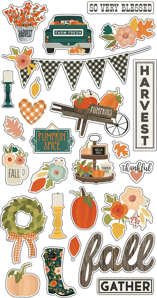 Fall Farmhouse Chipboard Stickers 6X12-