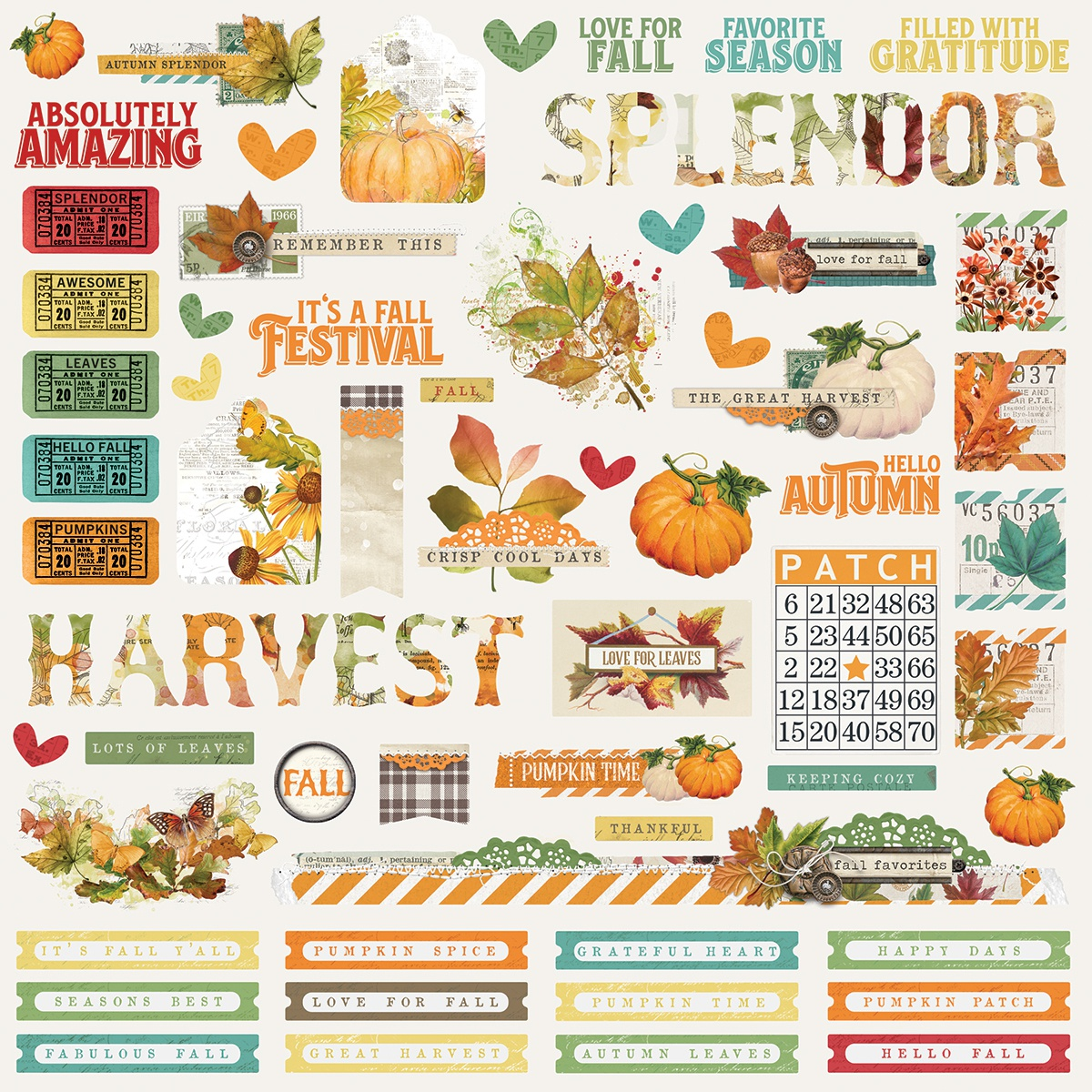 Autumn Splendor Cardstock Stickers 12X12-Combo