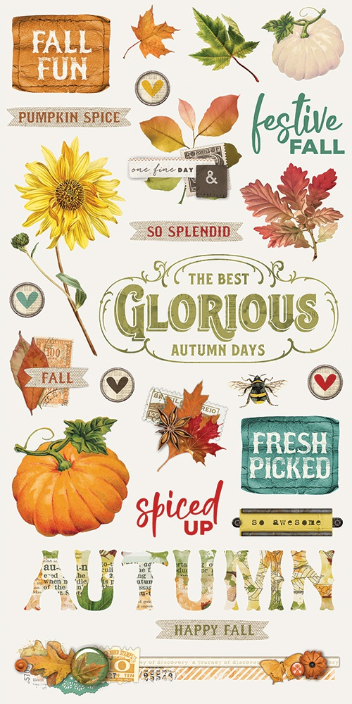 Autumn Splendor Chipboard Stickers 6X12-