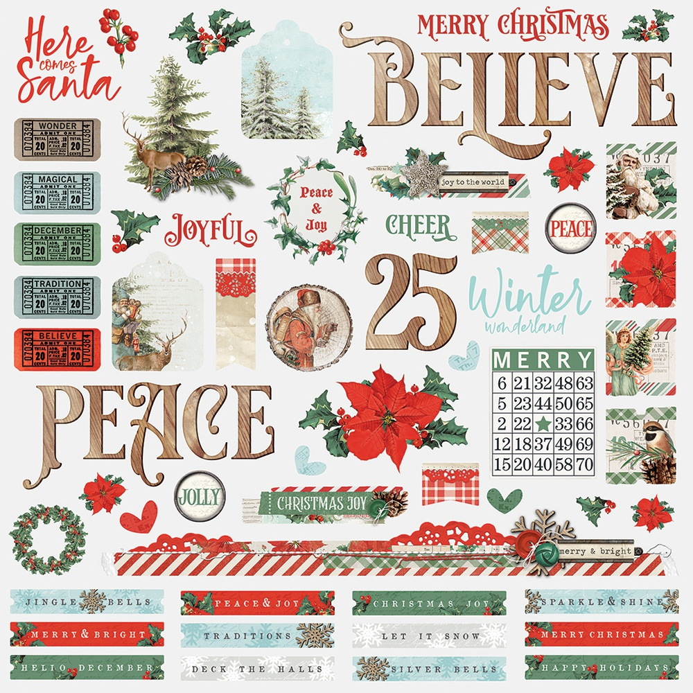 Country Christmas Cardstock Stickers 12X12-Combo