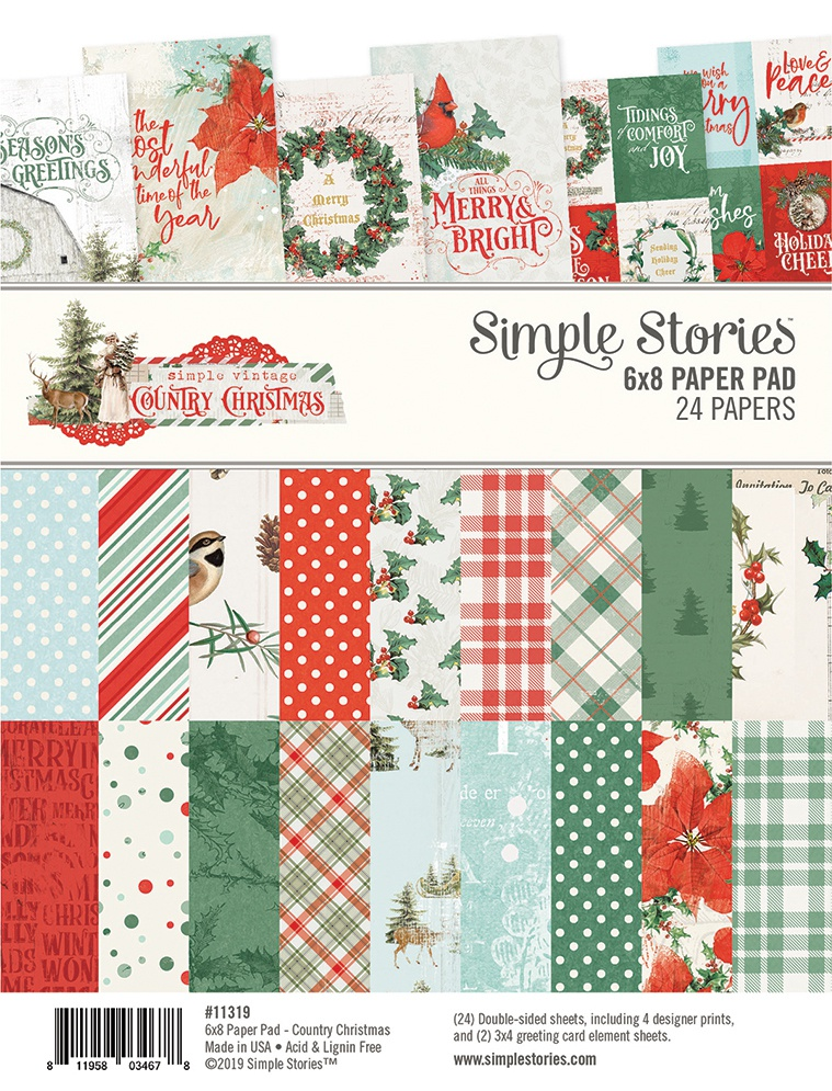 Simple Stories Double-Sided Paper Pad 6X8 24/Pkg-Country Christmas, 8 Designs/...