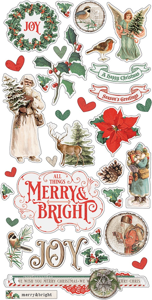 Country Christmas Chipboard Stickers 6X12-