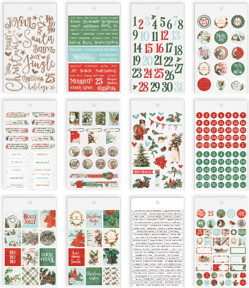 Country Christmas Mini Sticker Tablet 390/Pkg-