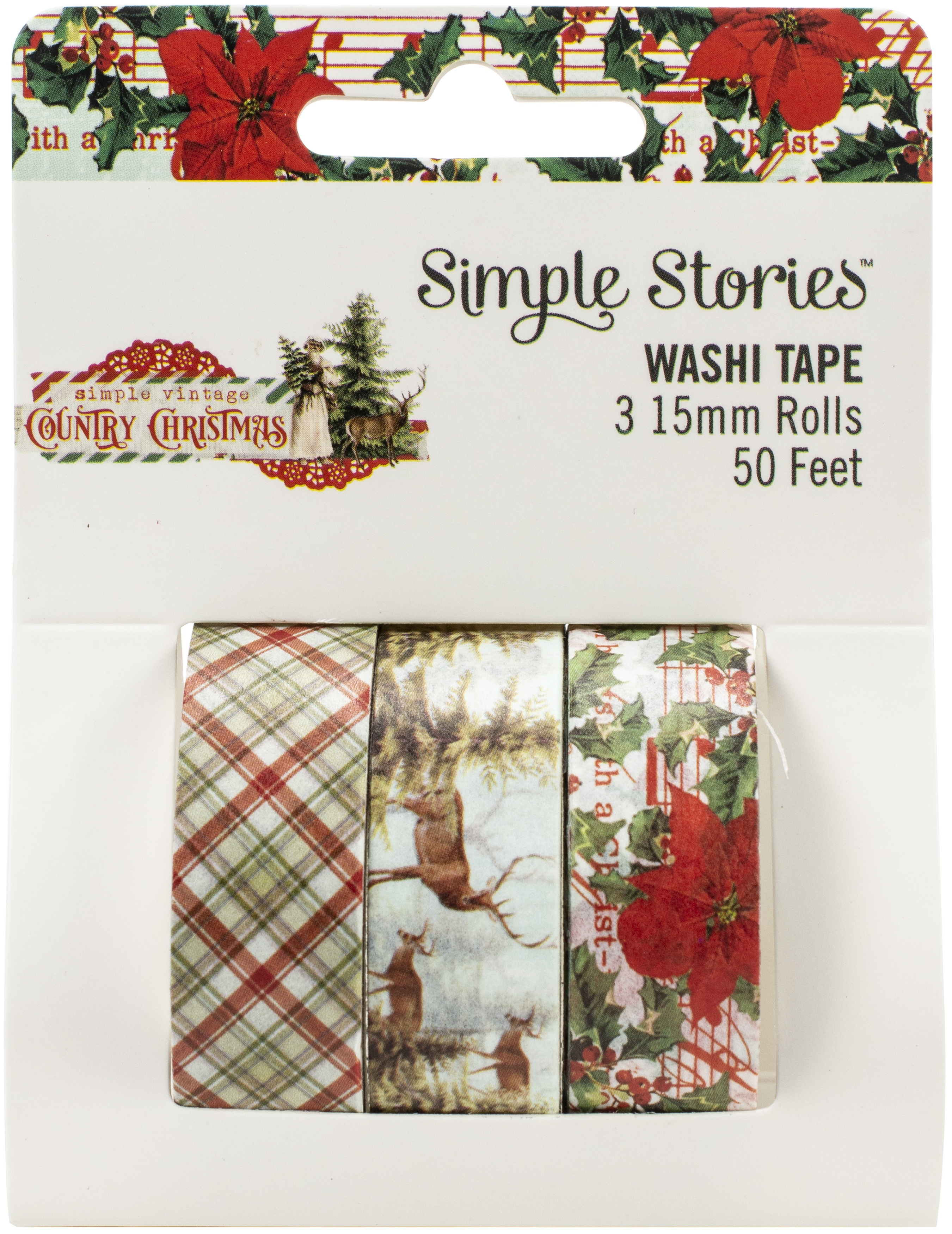 Simple Stories Country Christmas Washi Tape 3/Pkg-