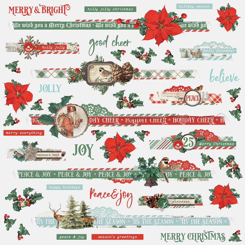 Country Christmas Cardstock Stickers 12X12-Border