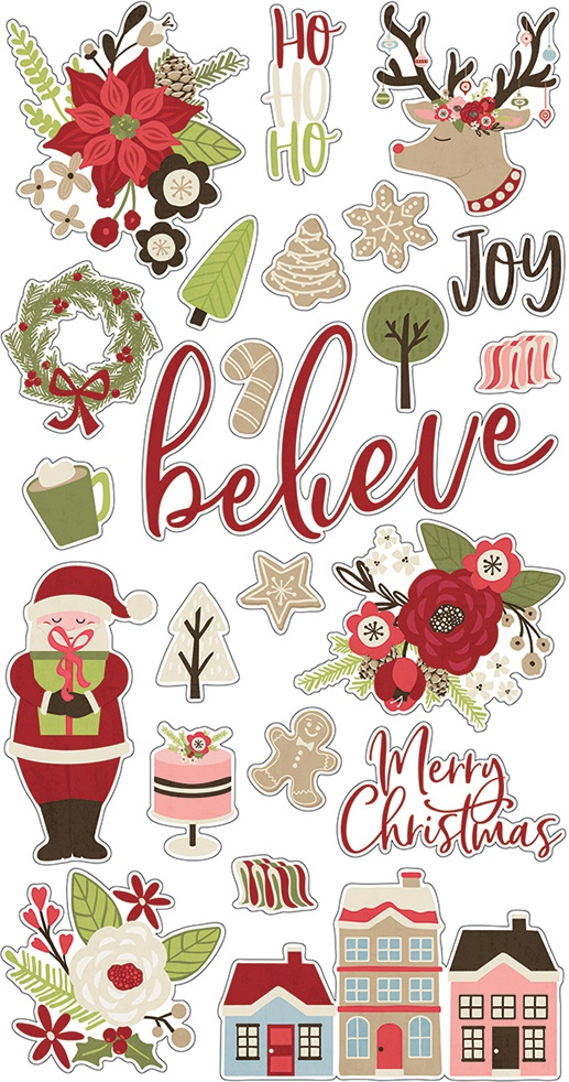 Holly Jolly Chipboard Stickers 6X12-