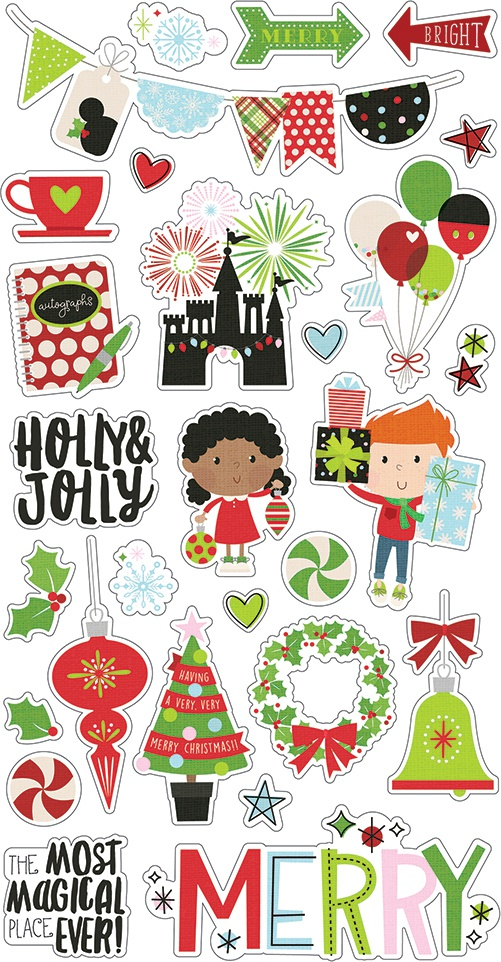 Say Cheese Christmas Chipboard Stickers 6X12-
