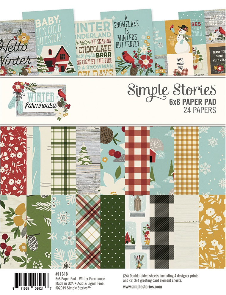 Simple Stories Double-Sided Paper Pad 6X8 24/Pkg-Winter Farmhouse, 8 Designs/3...