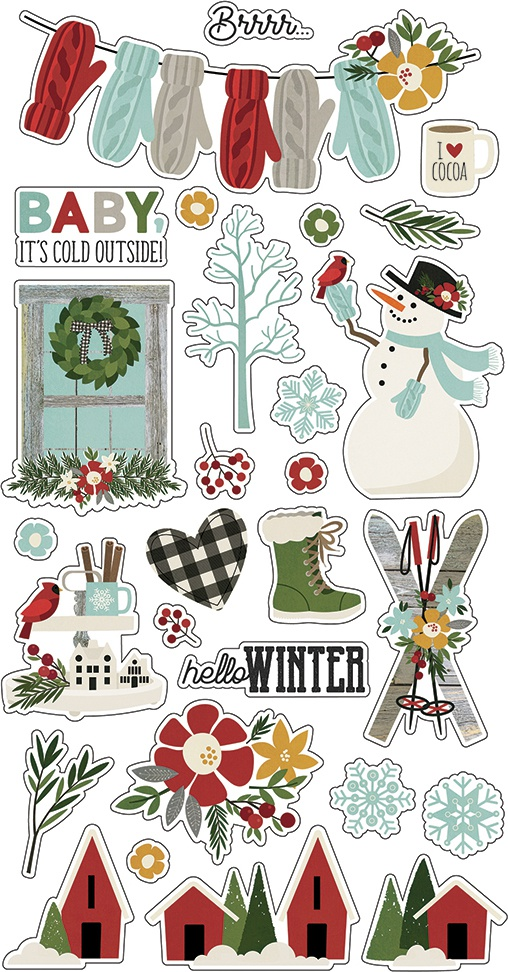 Winter Farmhouse Chipboard Stickers 6X12