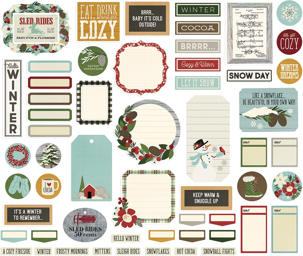 Simple Stories Winter Farmhouse - Journal Bits & Pieces Die-Cuts, 57/pkg