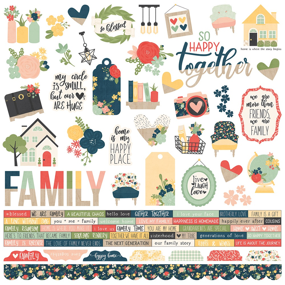 So Happy Together Cardstock Stickers 12X12-Combo
