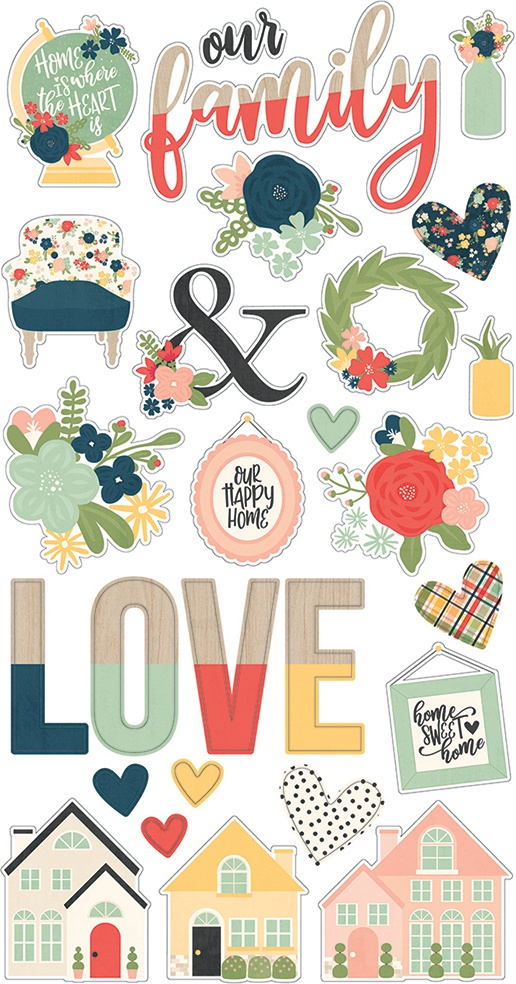 Simple Stories So Happy Together - Chipboard Stickers
