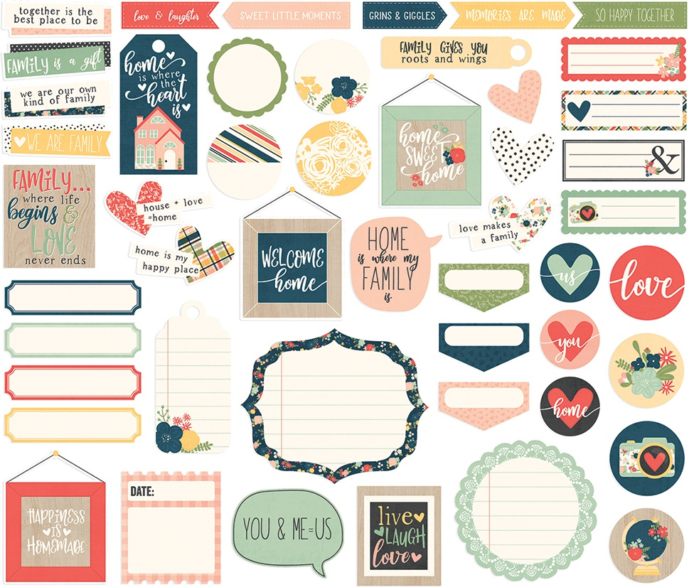 So Happy Together Bits & Pieces Die-Cuts 49/Pkg-Journal
