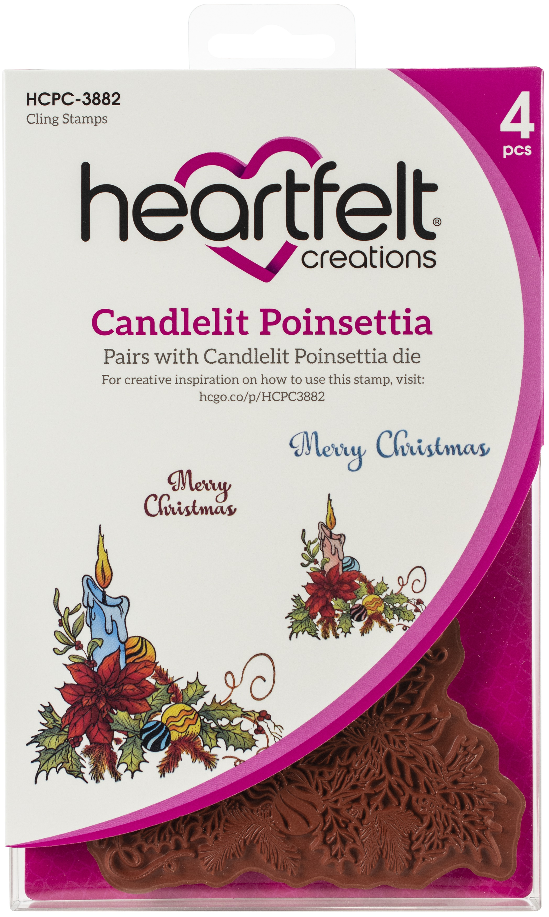 Heartfelt Creations Candlelit Poinsettia Stamp