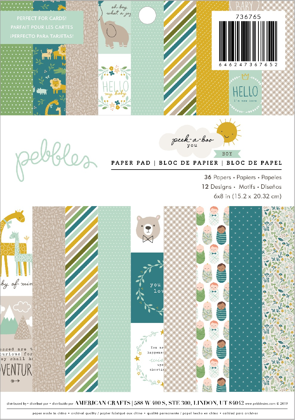 Pebbles Peek-a-Boo You - 6x8 Paper Paper Pad, Boy