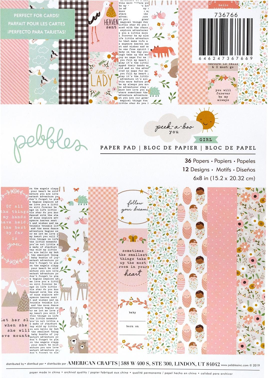 Pebbles Peek-a-Boo You - 6x8 Paper Paper Pad, Girl