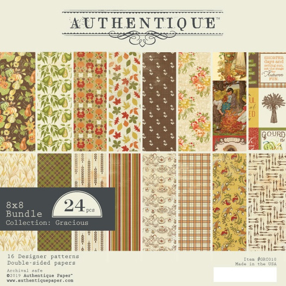 Authentique Double-Sided Cardstock Pad 8X8 24/Pkg-Gracious, 8 Designs/3 Each