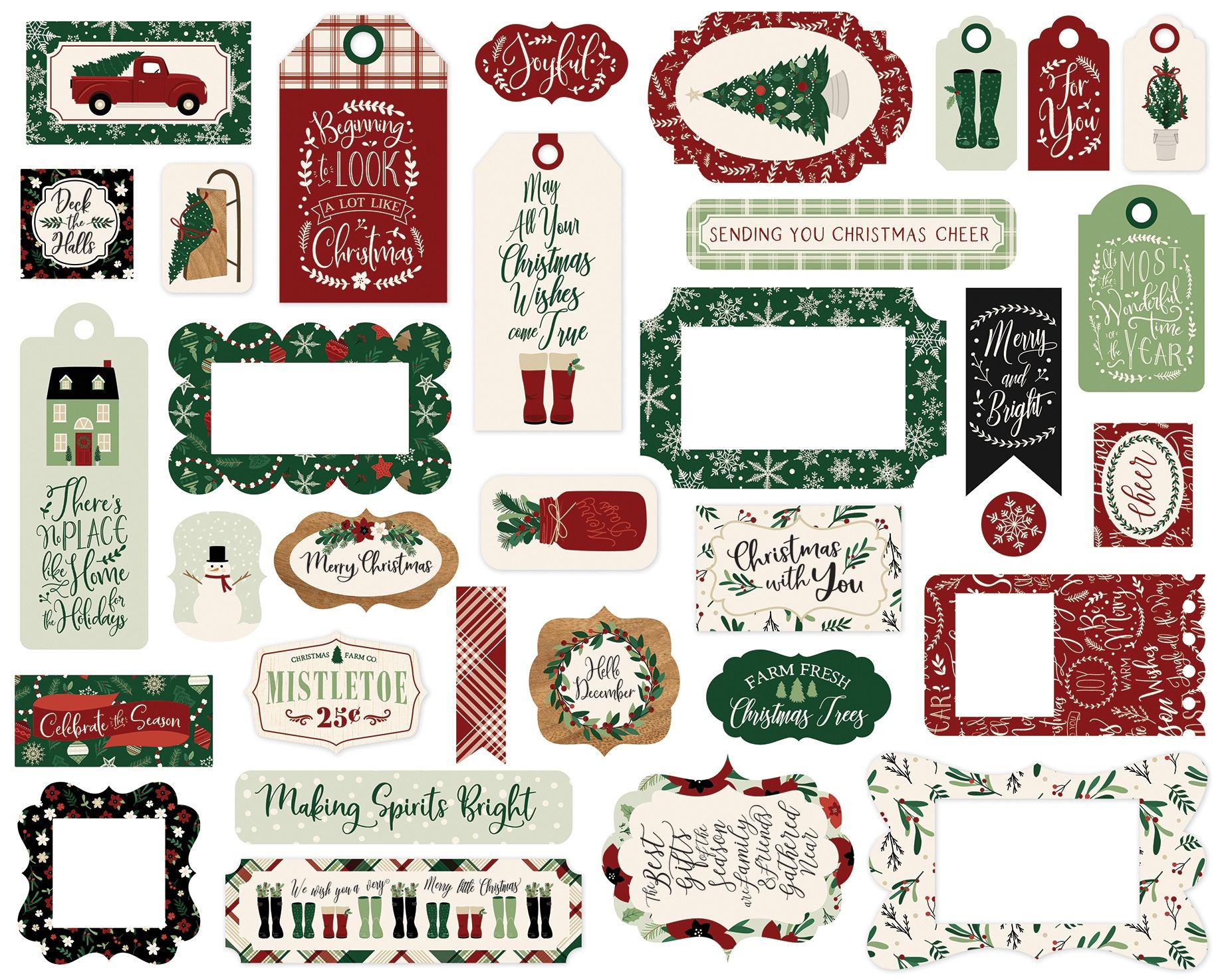 Echo Park Cardstock Ephemera 33/Pkg-Frames & Tags, A Cozy Christmas