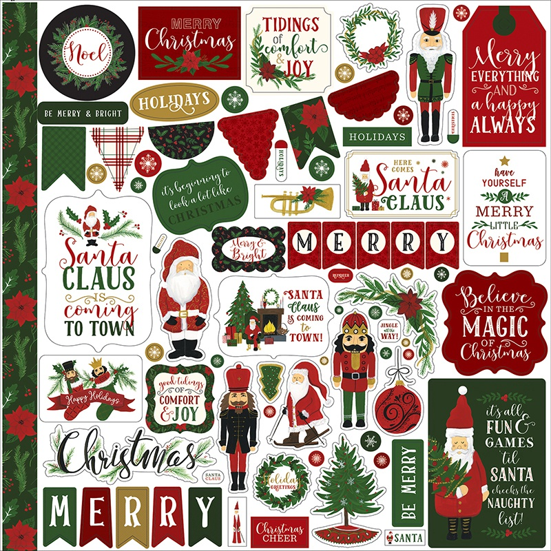 Here Comes Santa Claus Cardstock Stickers 12X12-Elements