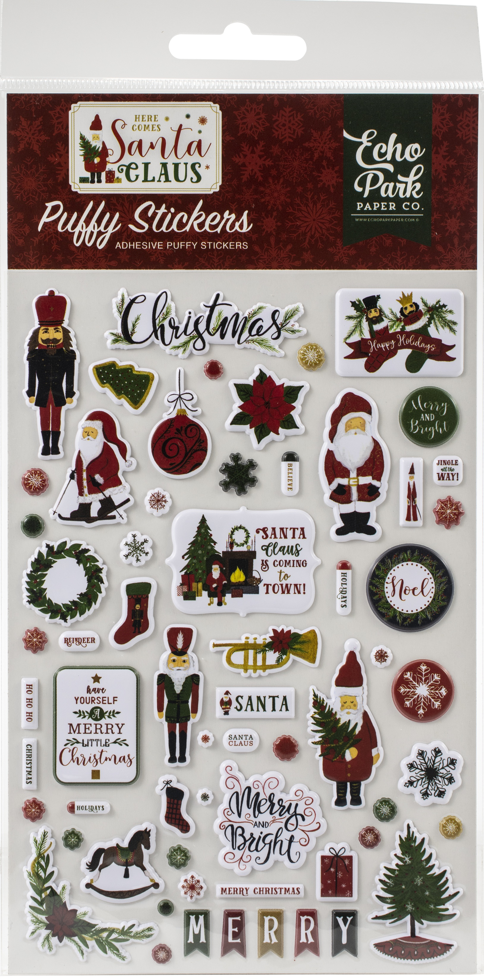 Here Comes Santa Claus Puffy Stickers-
