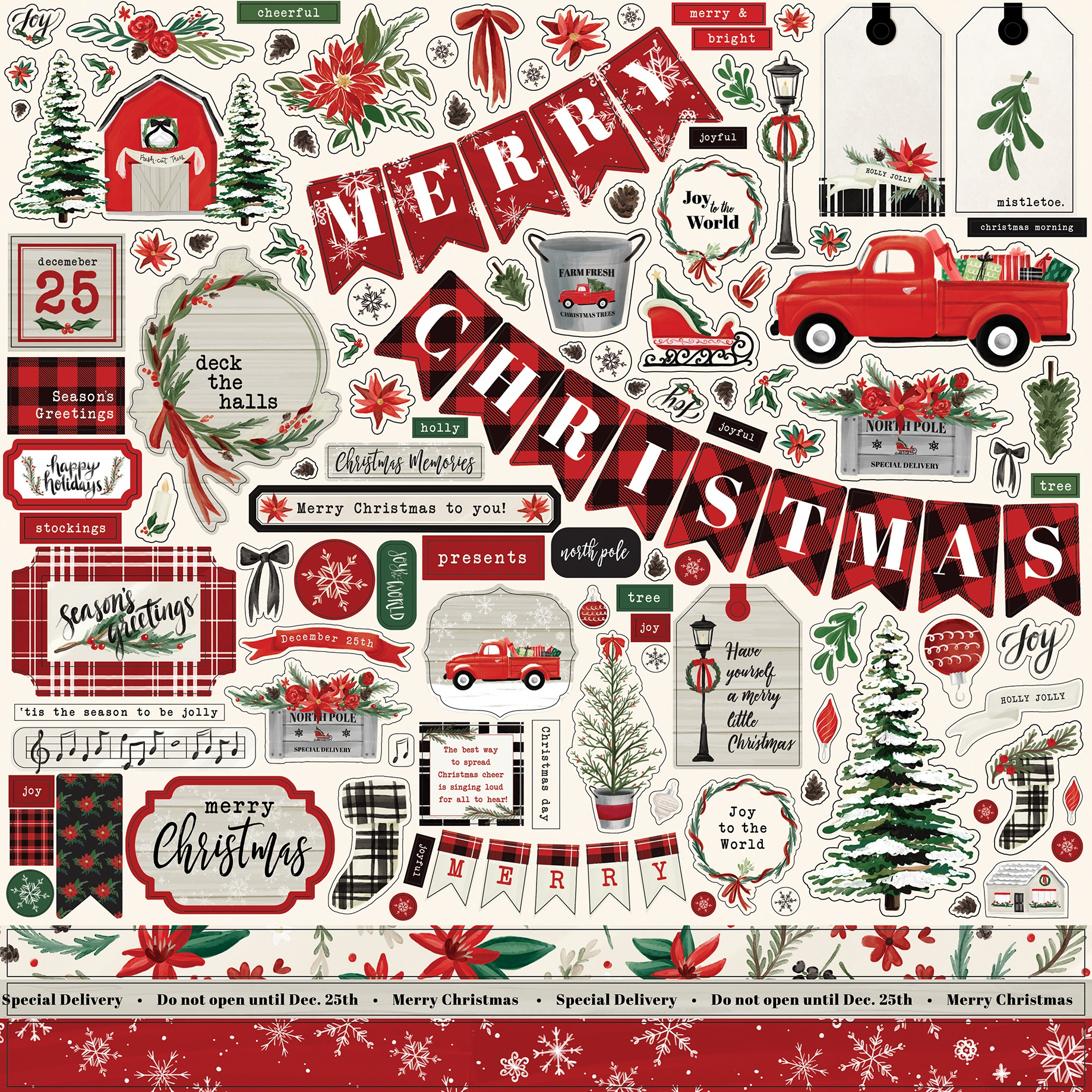 Christmas Market Cardstock Stickers 12X12-Elements