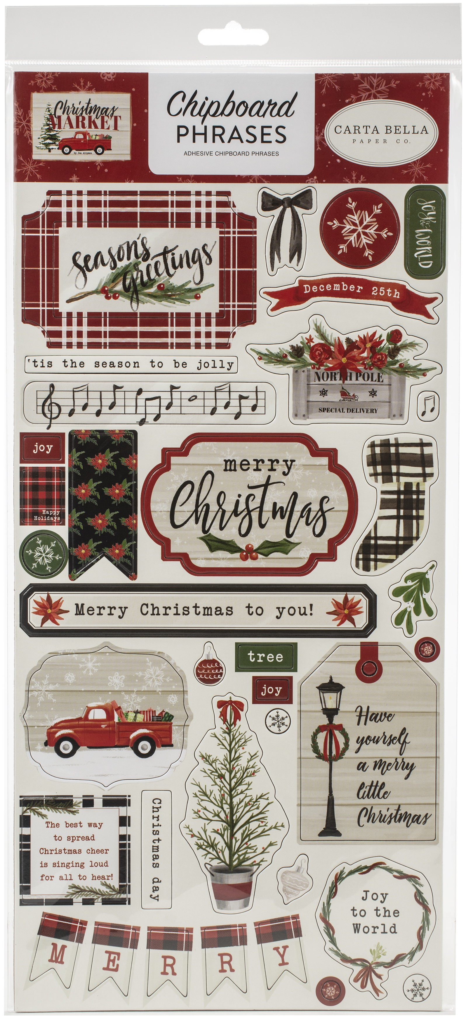 Christmas Market Chipboard 6X13-Phrases