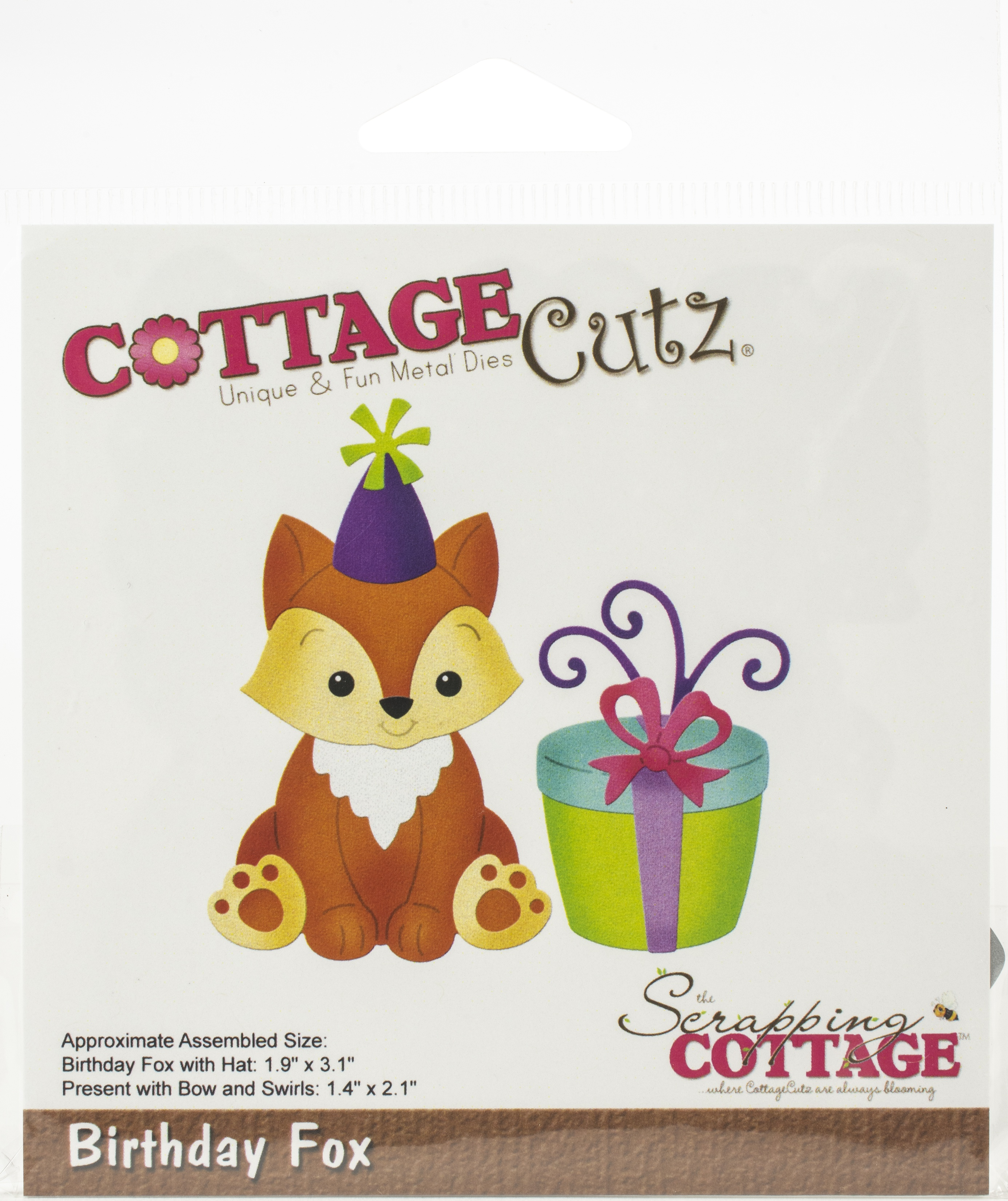 CottageCutz Dies-Birthday Fox, 1.9X3.1