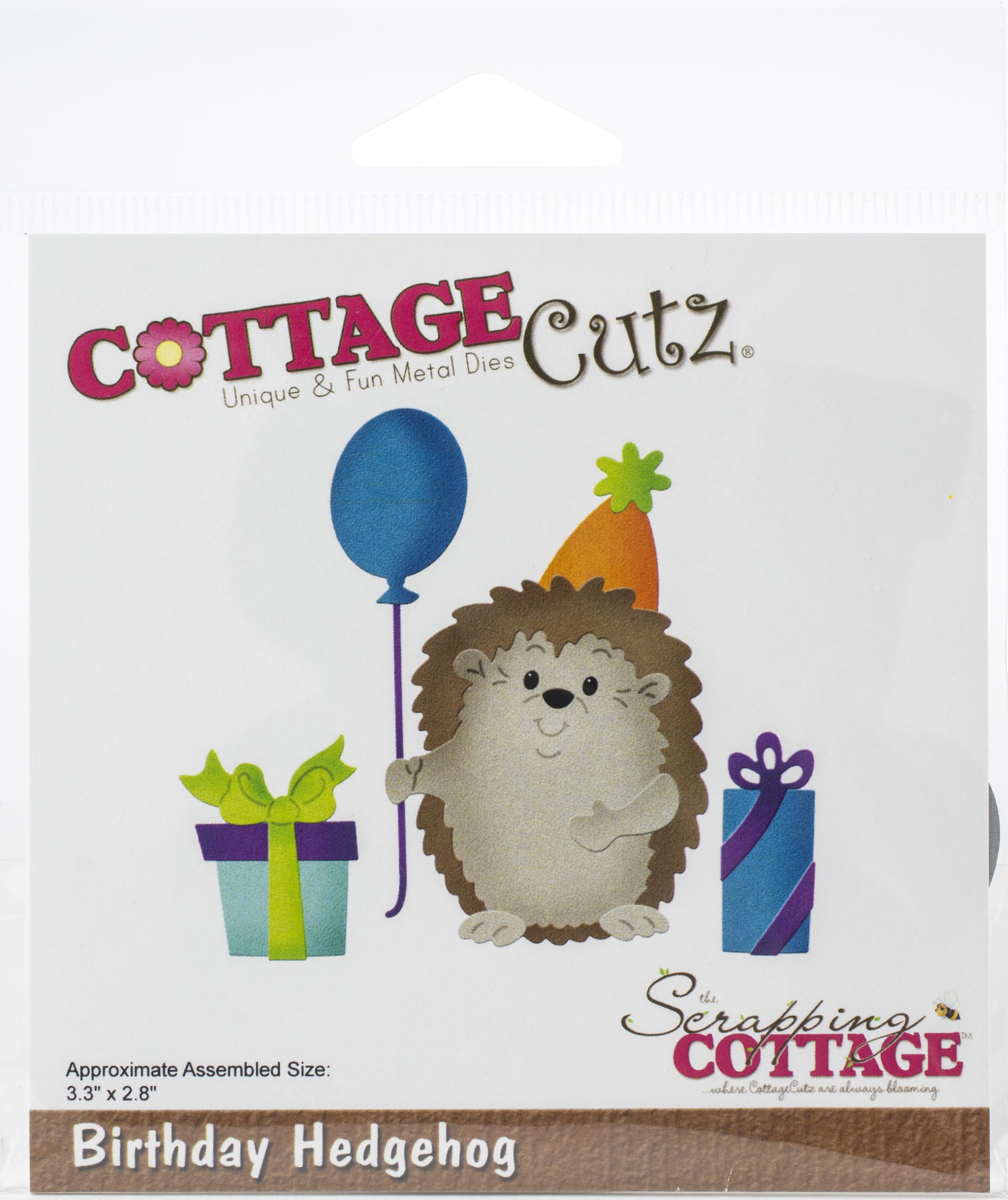 CottageCutz Dies-Birthday Hedgehog, 3.3X2.8