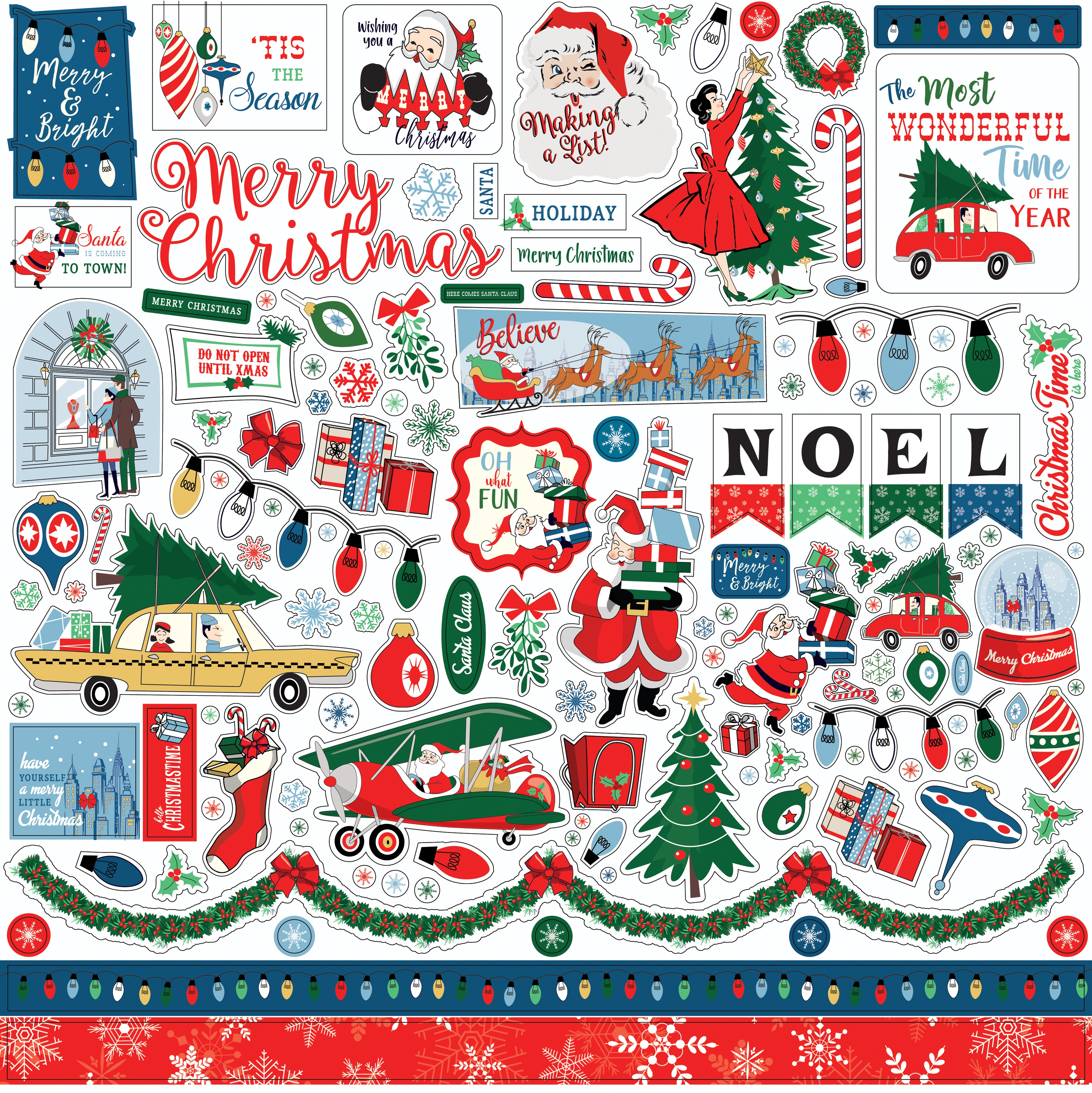 Merry Christmas Cardstock Stickers 12X12-Elements