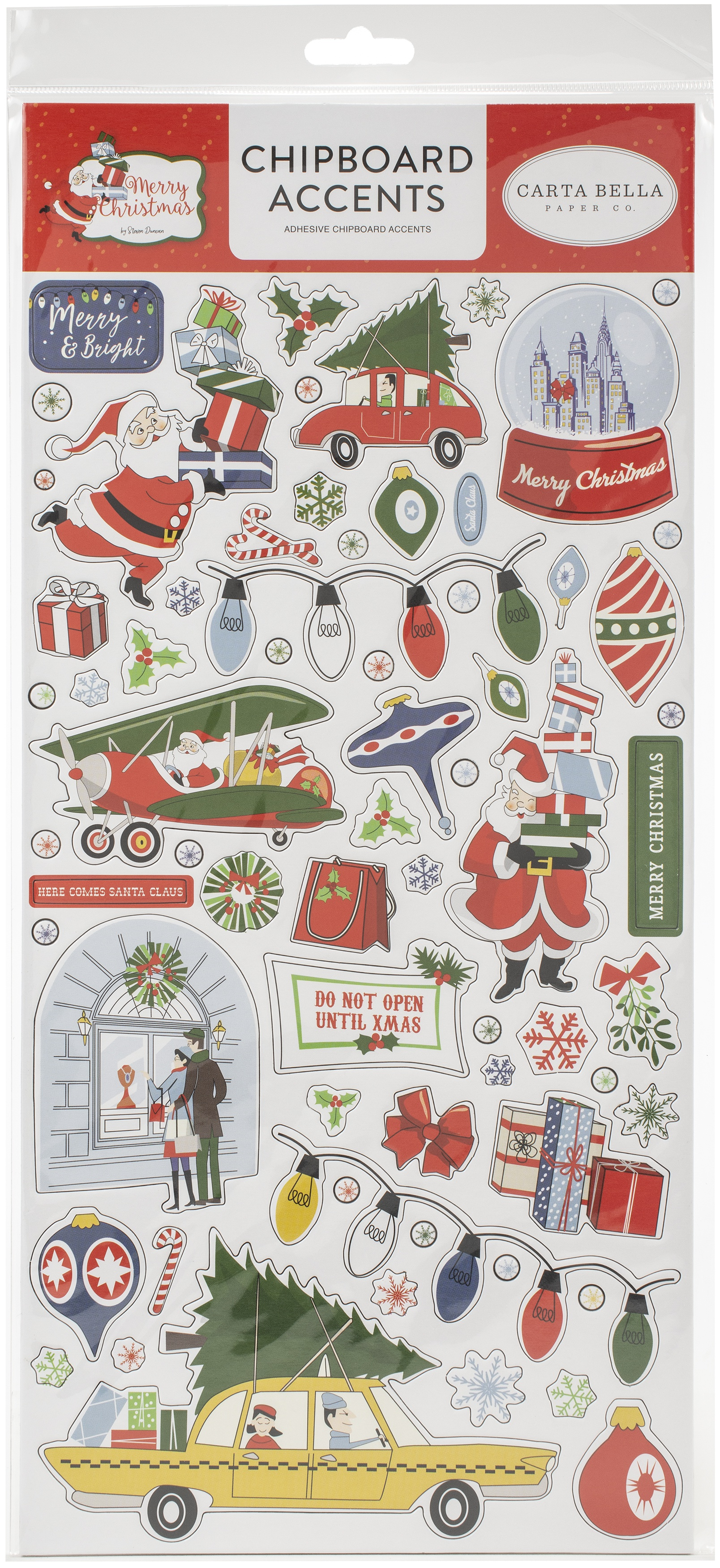 Merry Christmas Chipboard 6X13-Accents