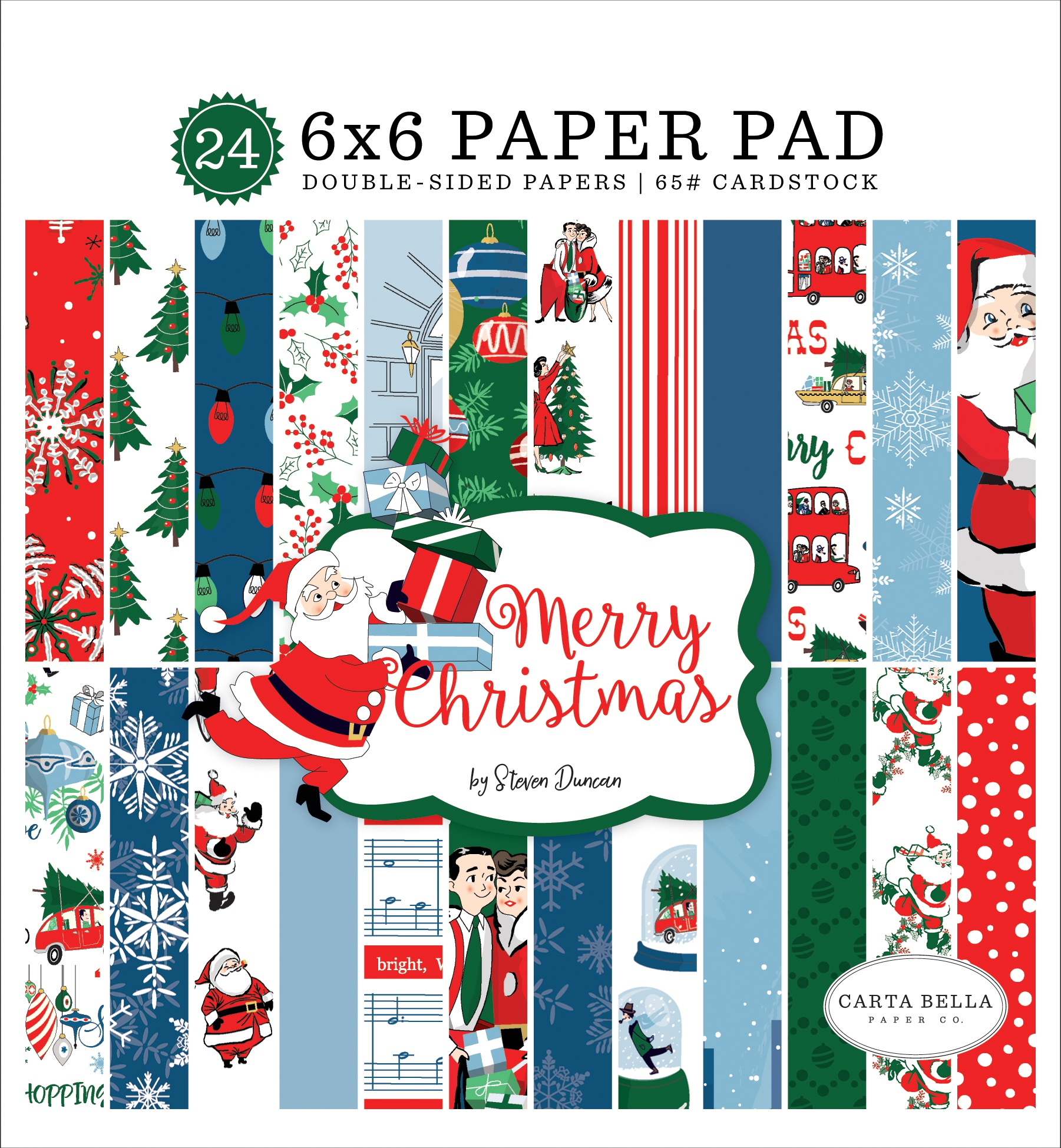 Carta Bella Double-Sided Paper Pad 6X6 24/Pkg-Merry Christmas, 12 Designs/2 Ea...