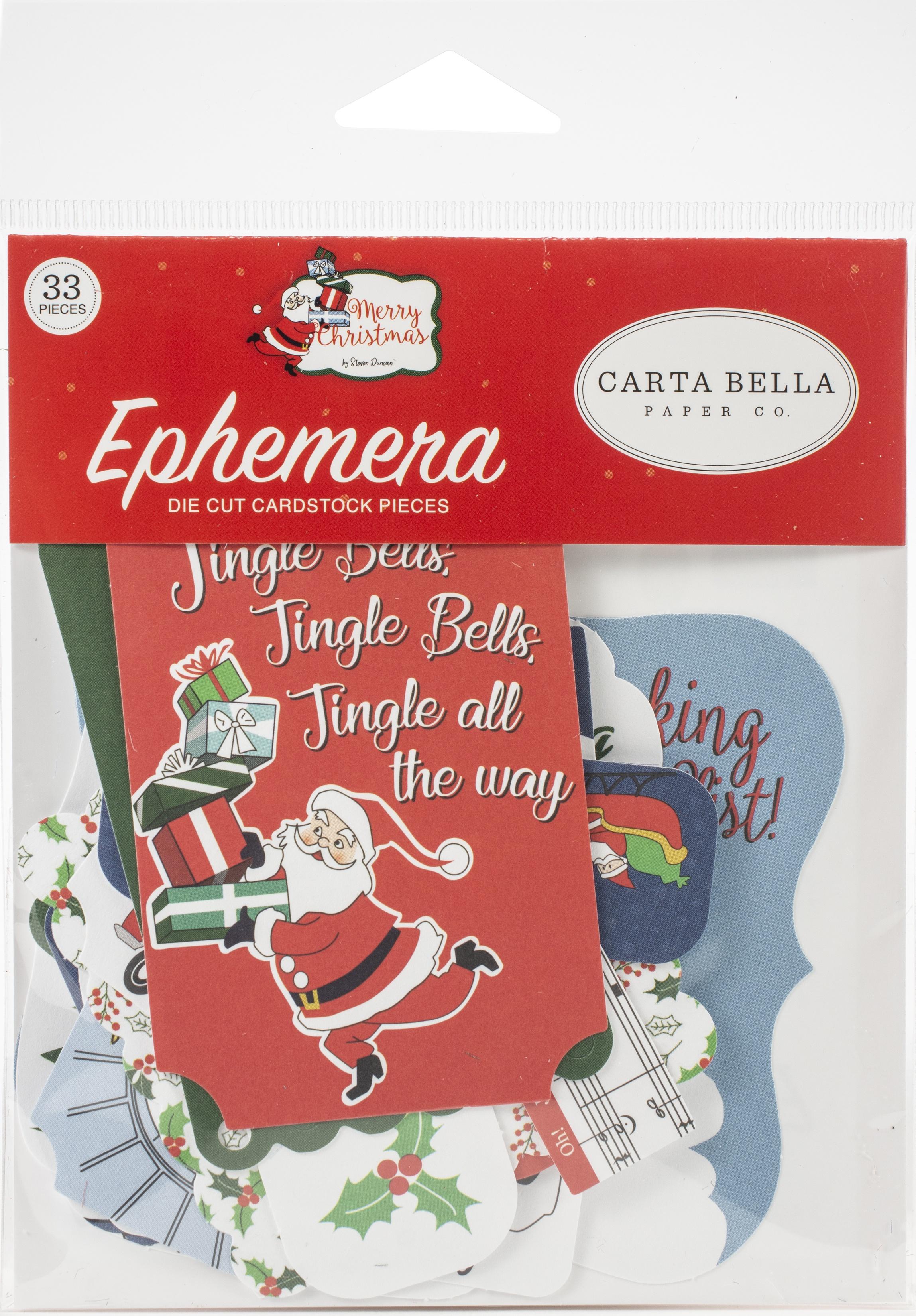 Carta Bella Cardstock Ephemera 33/Pkg-Icons, Merry Christmas