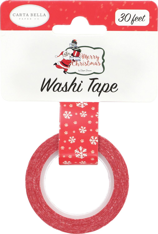 Carta Bella Merry Christmas Decorative Tape 30'-Christmas Snowflakes