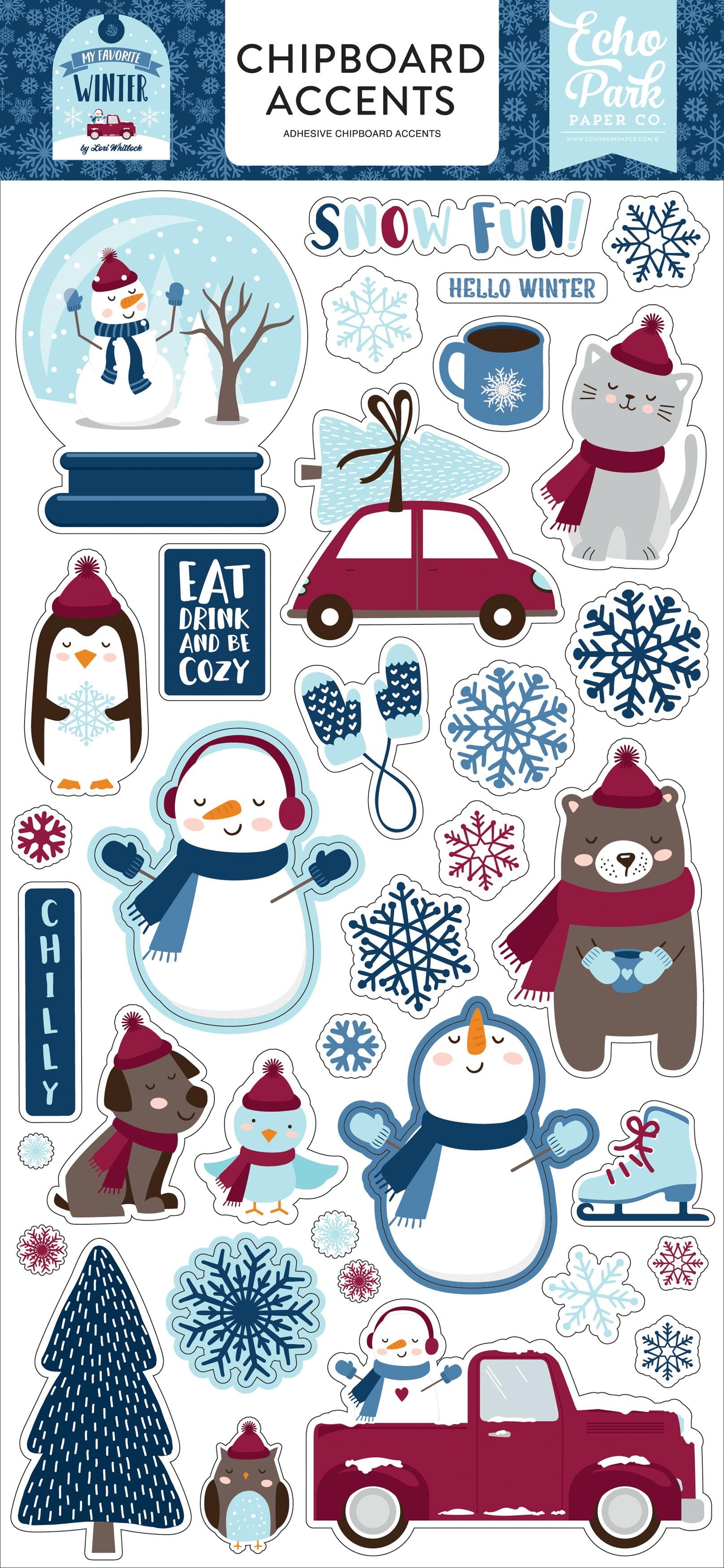 My Favorite Winter Chipboard 6X13