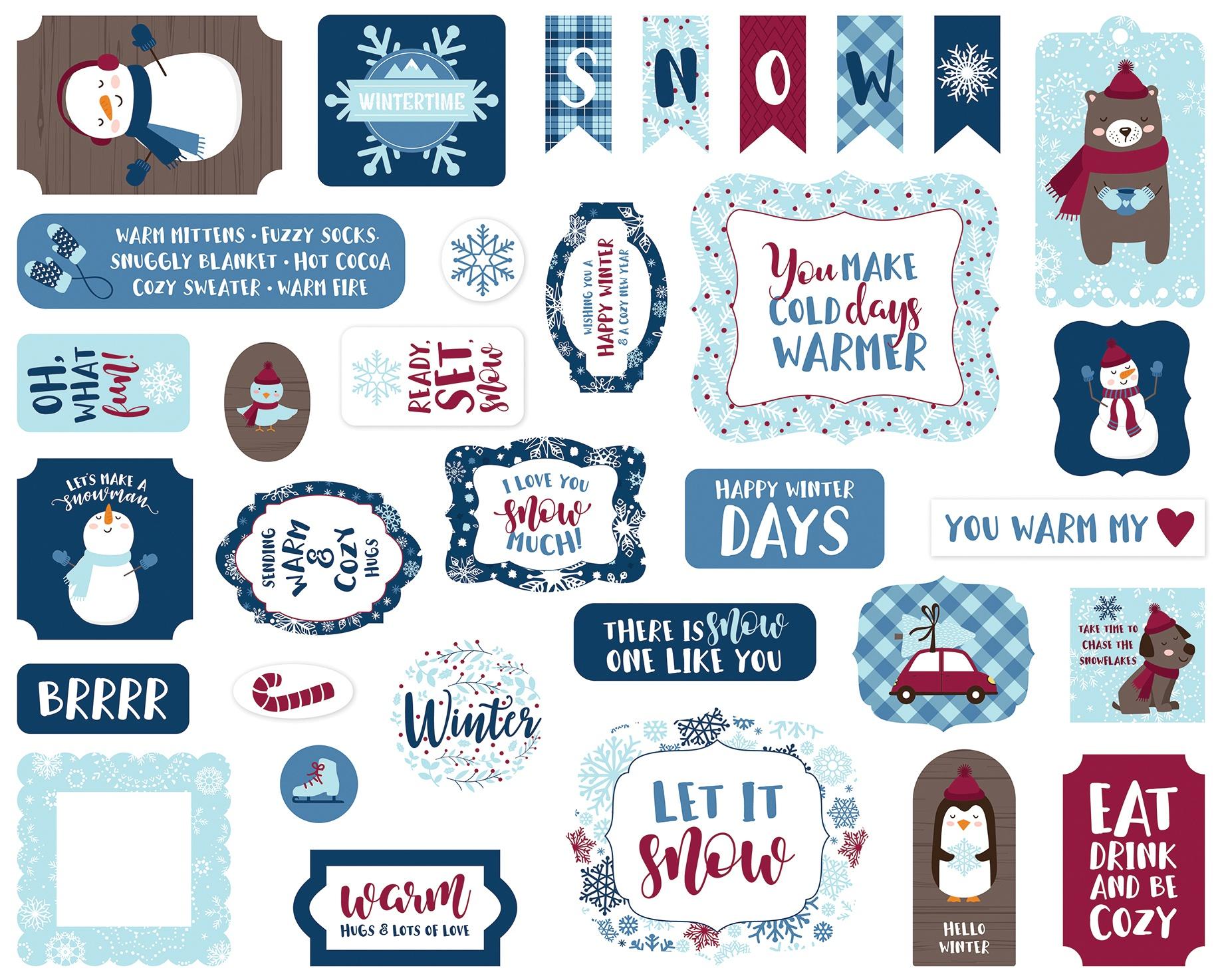 Echo Park Cardstock Ephemera 33/Pkg-Icons, My Favorite Winter