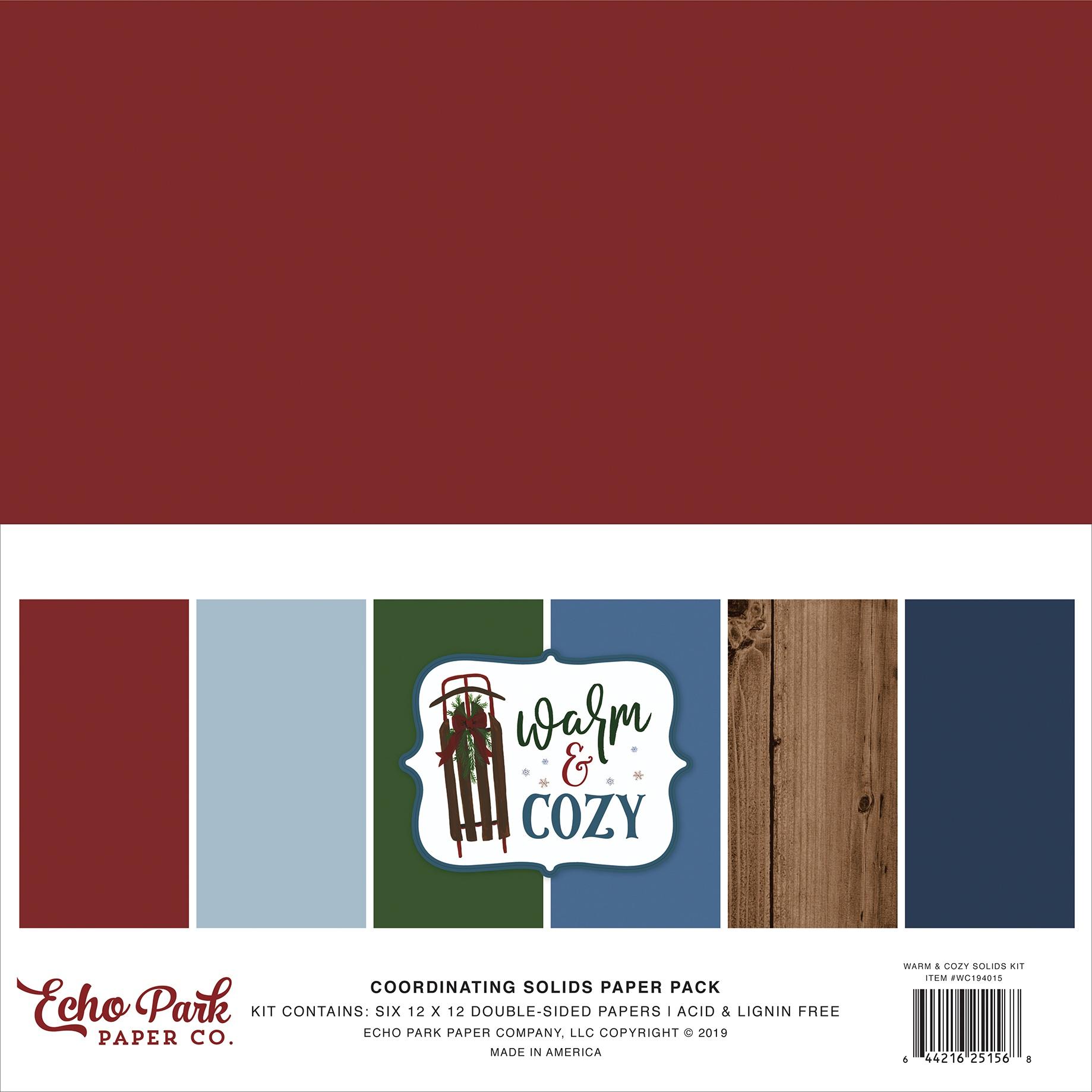 Echo Park Double-Sided Solid Cardstock 12X12 6/Pkg-Warm & Cozy, 6 Colors