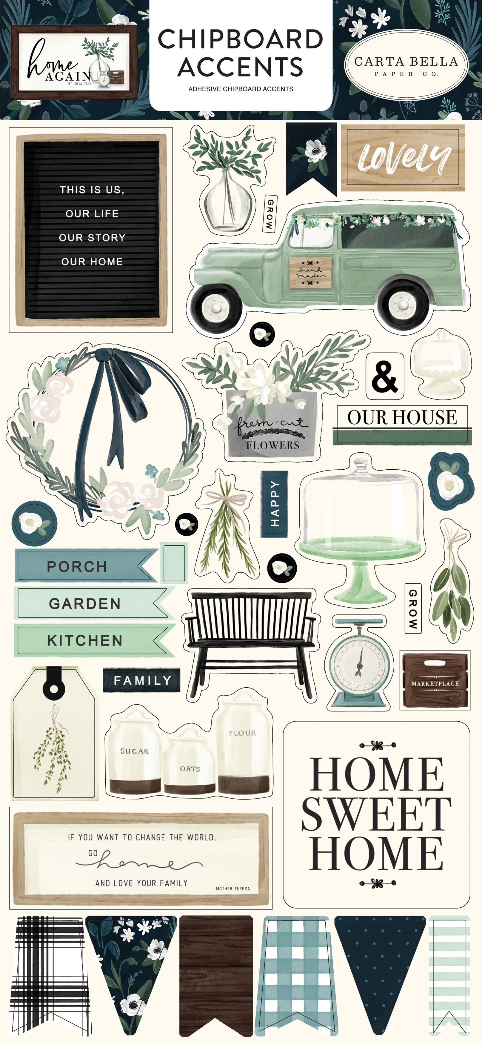 Home Again Chipboard Accents