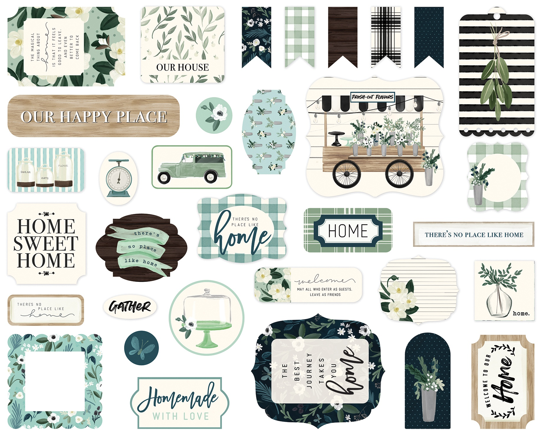 Carta Bella Cardstock Ephemera 33/Pkg-Icons, Home Again