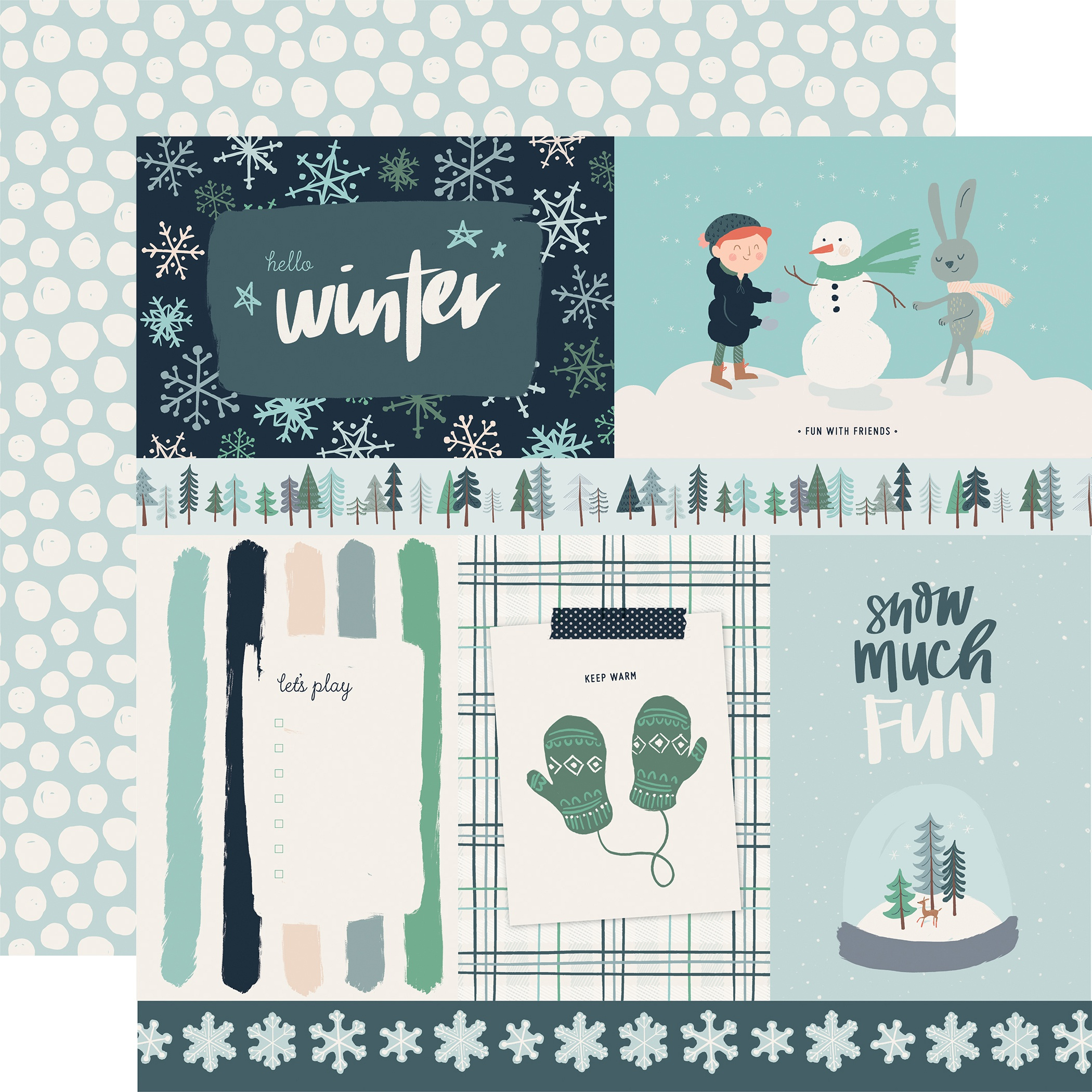Snow Much Fun Double-Sided Cardstock 12X12-4X6 Journaling Cards