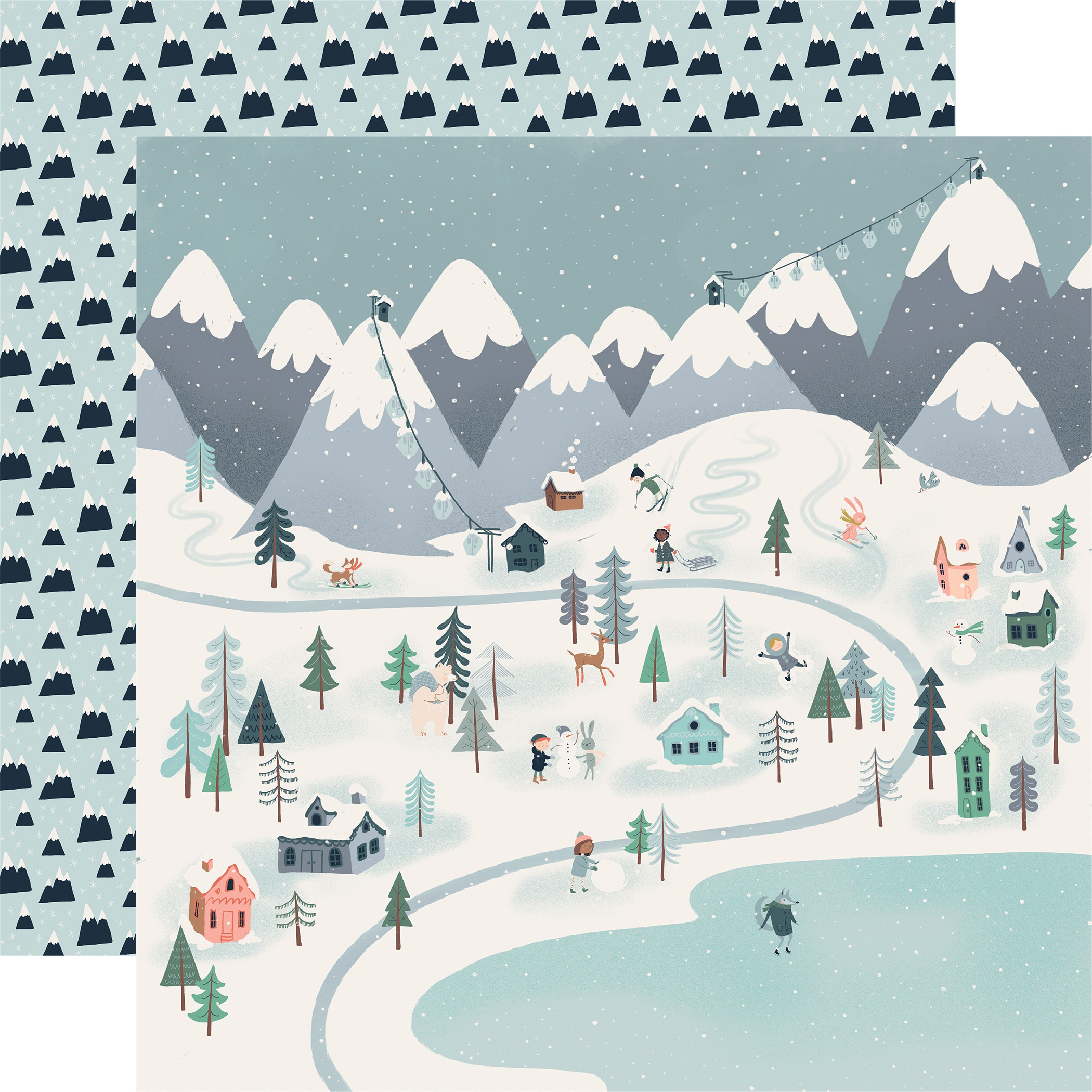 Snow Much Fun Double-Sided Cardstock 12X12-Winter Town